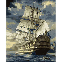 Hot Selling No Frame Sailing Boat DIY Oil Painting By Numbers Kit Paint On Canvas Home