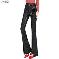 LXUNYI Women Leather Pants High Waist 2019 Fashion Lace Patchwrk Designers Autumn Winter Flare Pu Leather Trousers
