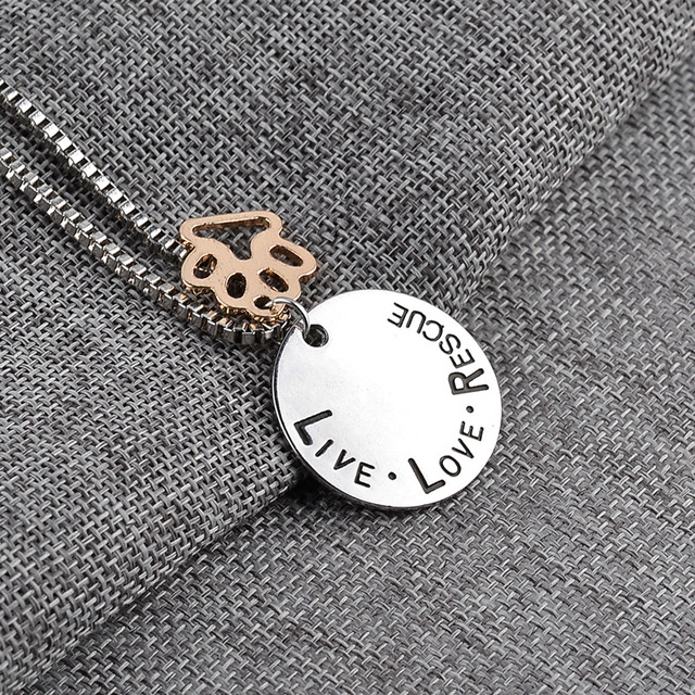 LIVE LOVE RESCUE DOG PAW NECKLACE 4