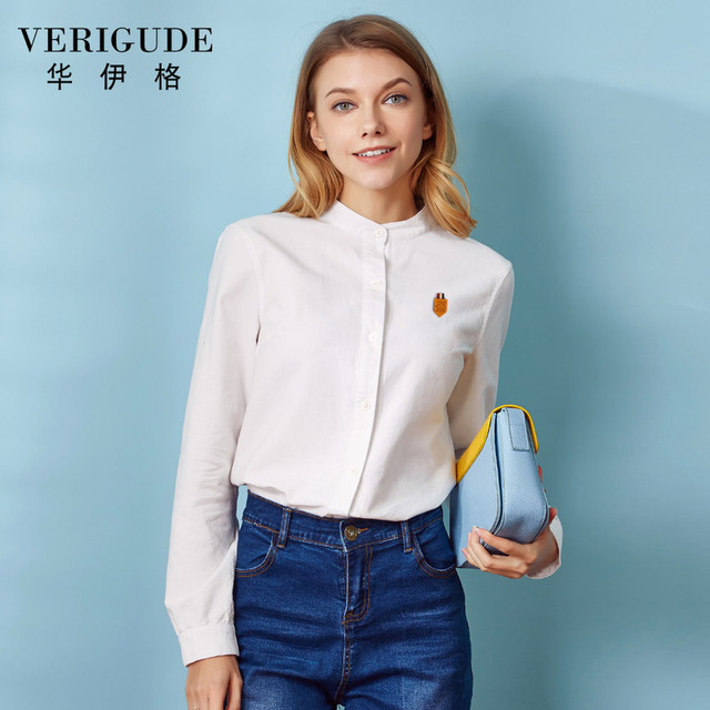 b3bb85da Veri Gude Plus Size Women Blouses and Shirts Long Sleeve Vintage Oxford  Blouse and Shirts 100% Pure Cotton Loose Solid Blouse