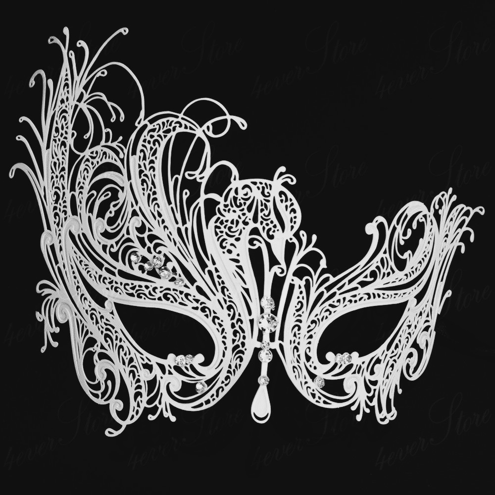 Masquerade mask masquerade mask vine mask metal lace masquerade - Free Shipping Luxury Phantom White Metal Venetian Party Mask Halloween Masquerade Swan Mask Rhinestone China