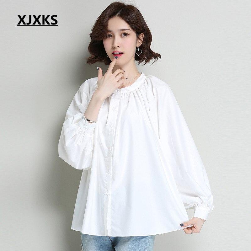 XJXKS lâche grande taille chemise pour femmes 2019 printemps été nouveau col rond à manches longues confortable de haute qualité blouse femmes top