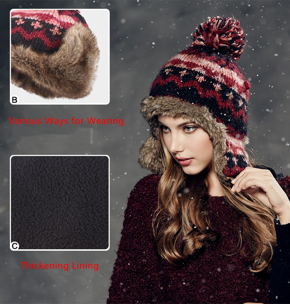 00c661ae Kenmont Winter Women Lady Girl Warm Outdoor Ski Hat Acrylic Earflap Faux  Fur Beanie Cap 1624