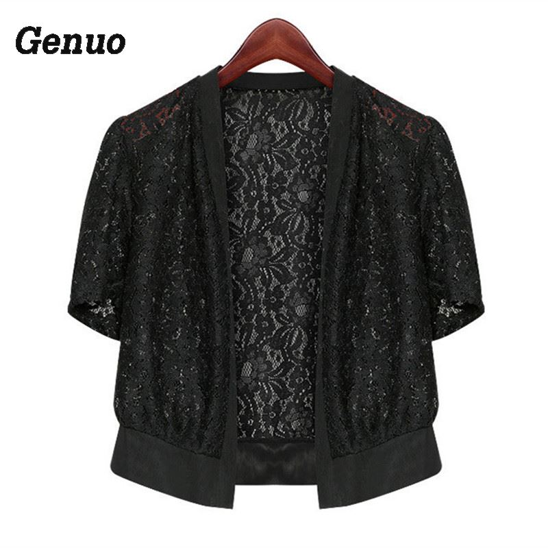 Lace Women Top Summer 2018 Fashion Casual Office Beach Wrap Coat Hollow Out Short sleeve Short Small Shawl Cardigan Shirt in Shrugs from Women 39 s Clothing