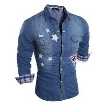 Бренд 2017 джинсовые Для мужчин платье рубашка Костюмы Джинсы для женщин Camisa социальной masculina с длинным рукавом синий мужской Рубашки для мальчиков S-XL