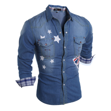 Brand 2017 Denim Men Dress Shirt Clothing Jeans Camisa Social Masculina Long Sleeve Blue Male Shirts S-XL