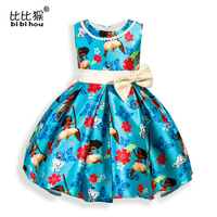 2017 Christmas Moana Girls Dress Cartoon Bow Party Cosplay Dress Ocean Princess Dress Children Clothing Kids