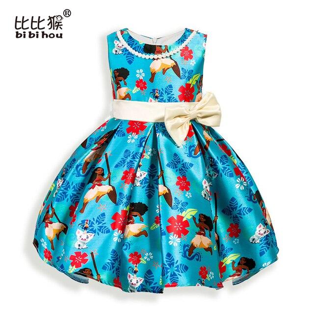 2017 christmas Moana Girls Dress Cartoon bow party Cosplay Dress Fancy Princess Dress Children Clothing Kids Dresses For Girls