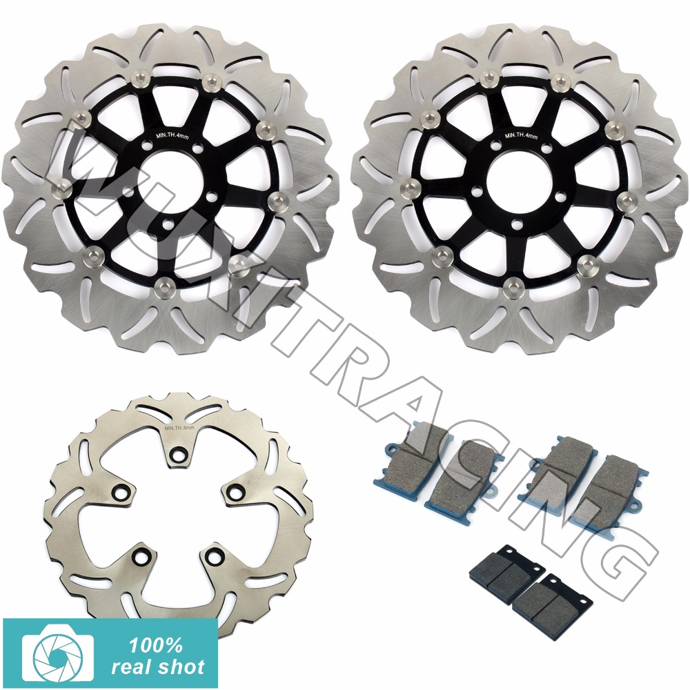 310mm Full Set Front Rear Brake Discs Rotors + Brake Pads for KAWASAKI ZXR 750 ZXR750 1989 1990 1991 1992 1993 1994 1995 89-95 motorcycle front rear brake pads for kawasaki gpx 600 r zx600 1988 1996 gpx 750 r zx750 1987 1989 zr750 1991 1995 zx100 zx10 p04