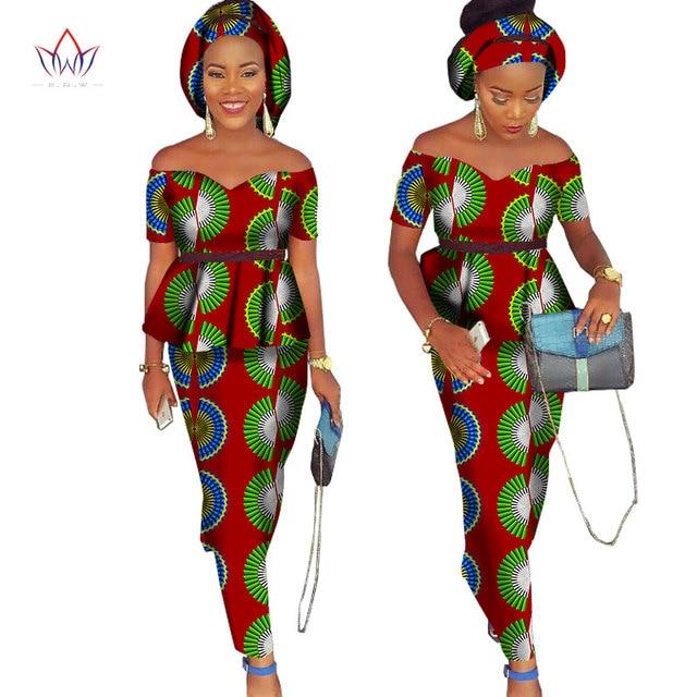 0ee32184c88d1 Africain Bazin Riche robe pour femmes 2 pièces ensemble hauts & africain  imprimé jupe avec foulard