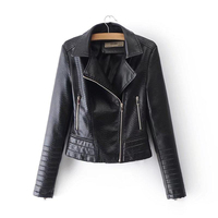Fashion Black Gothic faux leather PU Jacket Coats Women Winter Autumn Motorcycle Jackes Punk Zipper Outerwear Office Fall Coat