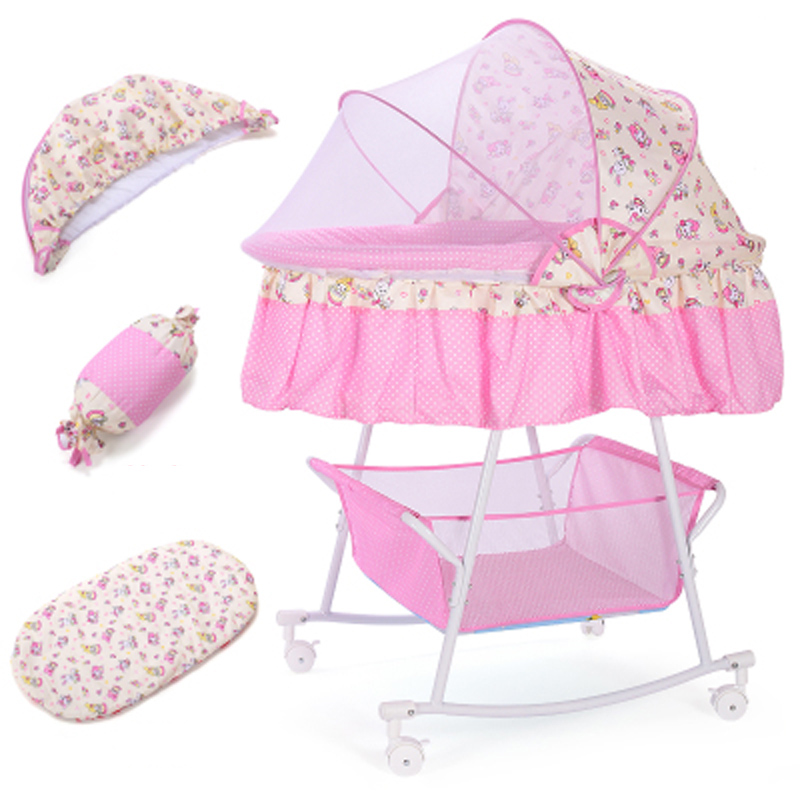 Baby Cradle, Infant Bed Toddler Pram, Newborn Baby Shaker With Mosquito Net And Mattress, Washable Fabric Baby Bed With Wheels