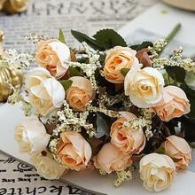 5 вилок, 15 головок, искусственный бархат, сердца, розы, цветы для свадьбы, вечеринки, цветок, домашний стол, ваза, украшение, сделай сам, имитация цветов