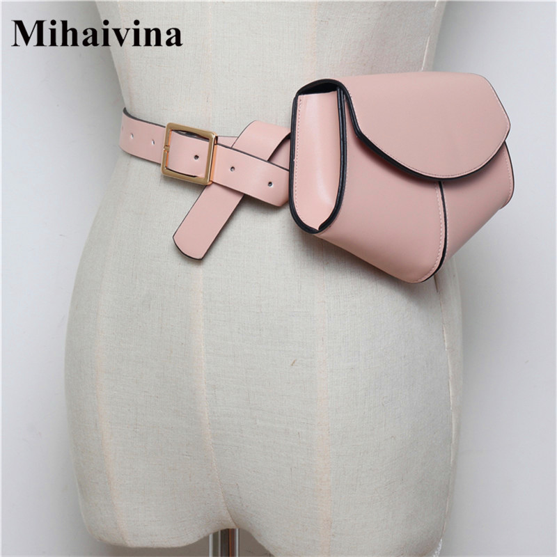 Mihaivina Women Belt Waist Bags Leather Belt Bag Black/Luxury Fanny Pack Bags Serpentine Waist Pack Mini Disco Lady Shoulder Bag