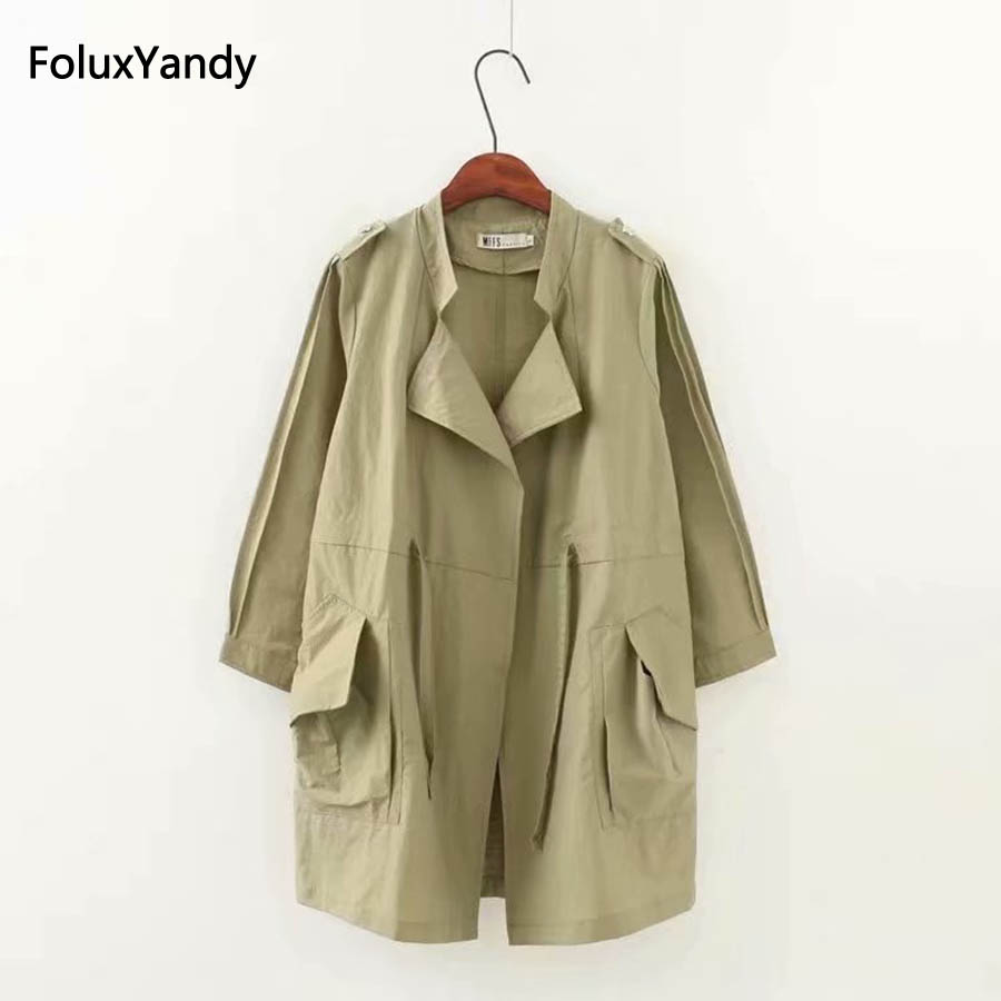 Brand New Autumn   Trench   Coat for Women Plus Size Casual Pockets Loose Open Stitch Long Sleeve   Trench   Spring Outerwear KKFY2175