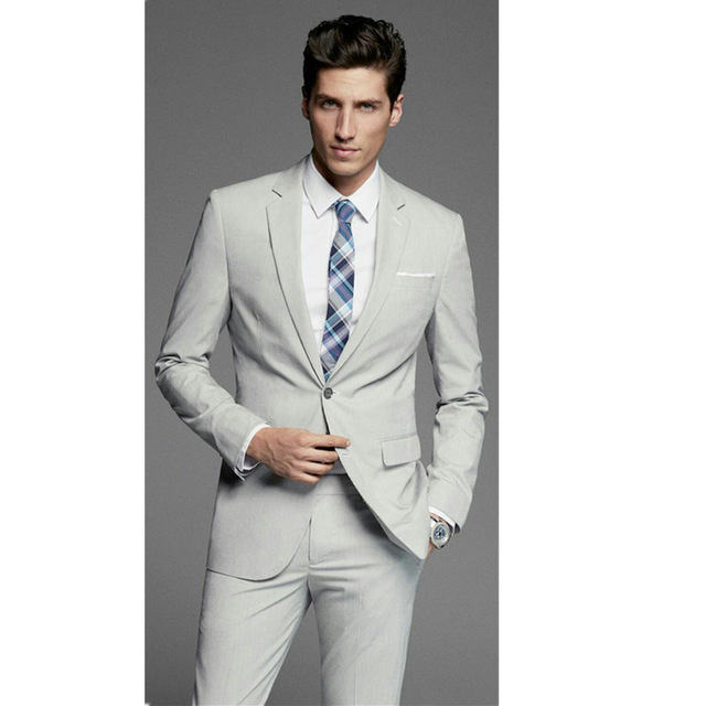Slim Light Gray Men's Suits Business Suits Groom Tuxedo Custom Lapel Business Casual Suits (jacket + Pants)