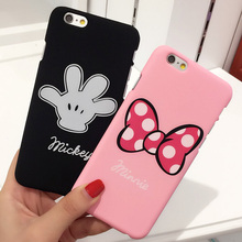 Luxury Pink bow-knot rosette Mickey Minnie hard PC plastic phone case For iphone 7 SE 5s 6 6s / plus 4.7 5.5 mouse coque fundas