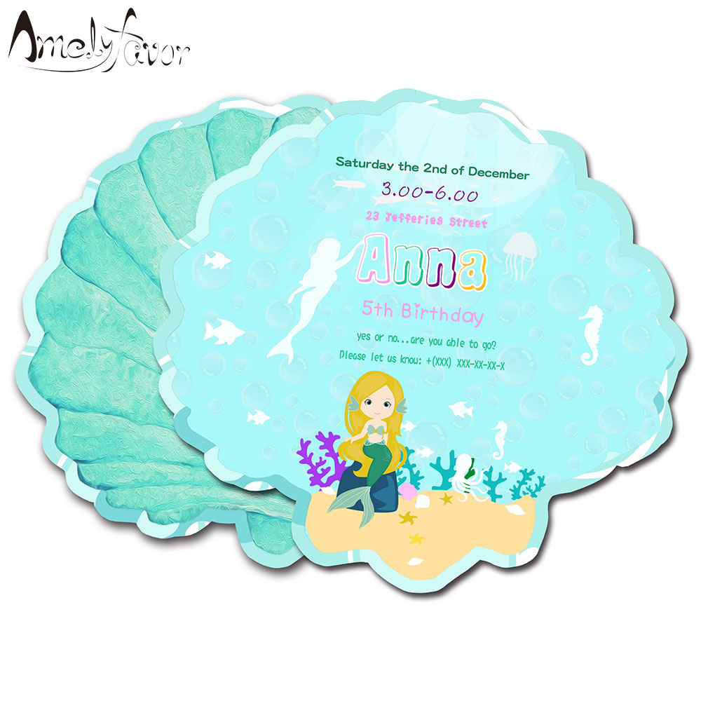 Us 7 39 26 Off Mermaid Theme Invitations Card Birthday Party Supplies Birthday Party Decorations Kids Event Birthday Sea Shell Invitation In Cards