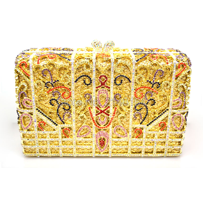 Gift Box Lady Vintage Luxury Diamond Evening Bags Real Gold Plated Women Crystal Flower Clutch Bag For Wedding Bridal ClutchesGift Box Lady Vintage Luxury Diamond Evening Bags Real Gold Plated Women Crystal Flower Clutch Bag For Wedding Bridal Clutches