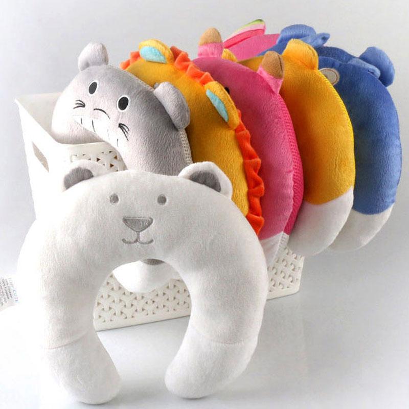 Cute Cartoon Neck Protector Baby Pillow Travel Kids Car Headrest Pillows U shape Baby Pillows Velvet Cushion almofada infantil