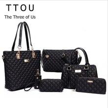 Mode Diamantgitter Frauen Marken Oxford Frauen Umhängetaschen Damen Tote Handtasche + Crossbody Tasche + Wallet Purse + 6 Sätze