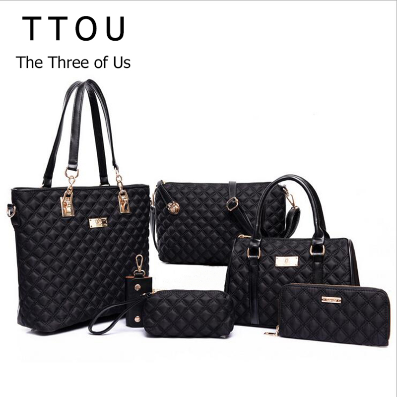 TTOU Women Fashion Diamond Lattice Handbag Set 6pcs Patchwork Composite Bag Female Vintage Shoulder Bag Casual Tote Oxford Bag