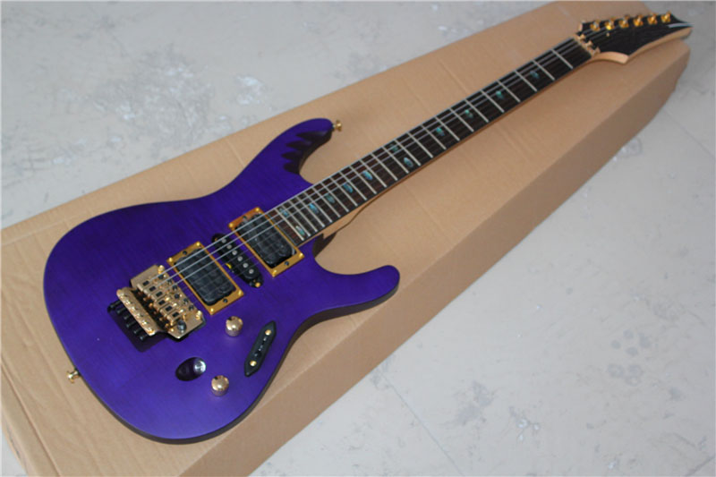 factory sale 6 string purple electric guitar with floyd rose tremolo hsh pickups gold hardware. Black Bedroom Furniture Sets. Home Design Ideas