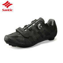 Santic Men Cycling Road Shoes Black Racing Team Bicycle Shoes TPU Breathable Self-locking Athletic Bike bicicle Shoes 2018 New