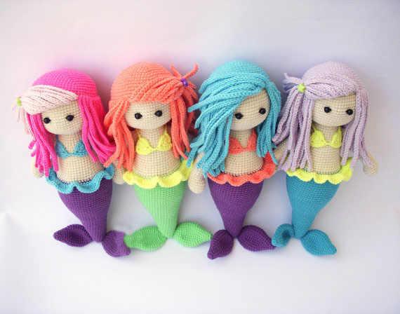 Вязаный крючком кукла-амигуруми Русалка вязаный крючком кукла погремушка вязаный крючком игрушка