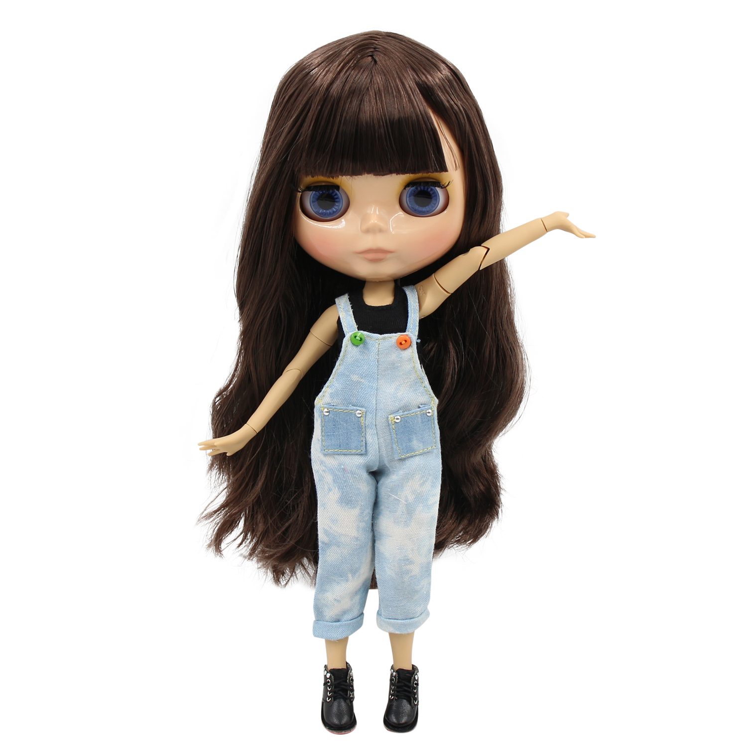 factory blyth doll 1 6 bjd tan skin joint body brown hair with bangs BL0222 30cm