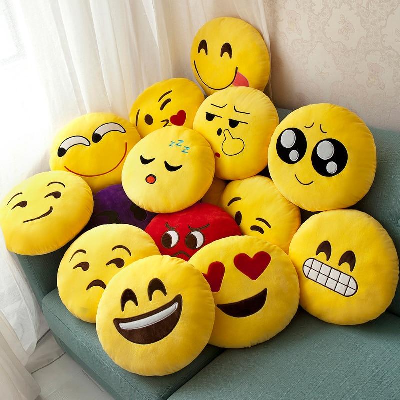 WVW Cute Emoji Pillows QQ Smiley Emotion Soft Decorative Cushions Stuffed Plush Toy Doll For Girl Christmas Gift Smile Face Doll funny emoji cartoon face plush toys keychain pendant cute soft stuffed qq mini dolls round smile keyring gift
