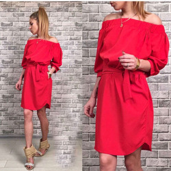 Ermonn sexy fashion new women dress loose solid three quarter sleeve slash neck party beach wear.jpg 250x250