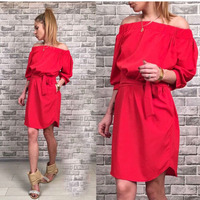2017 Summer New Women Dress Sexy Loose Solid Three Quater Sleeve Slash Neck Fashion Party Wear