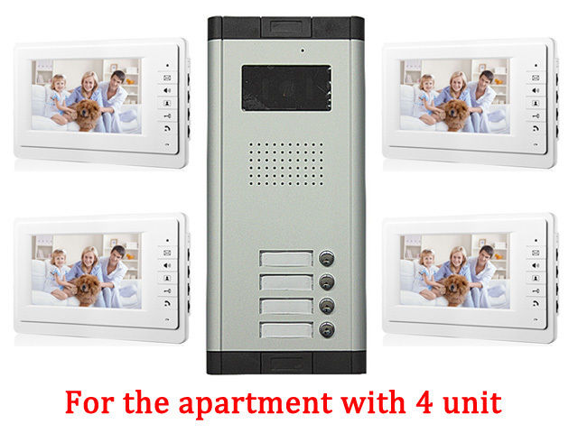 Apartment 4 Unit Intercom Entry System Wired Video Door Phone Audio Visual IR Camera doorphone monitor Speakerphone intercom diysecur 7 4 wired apartment video door phone audio visual intercom entry system ir camera for 6 families