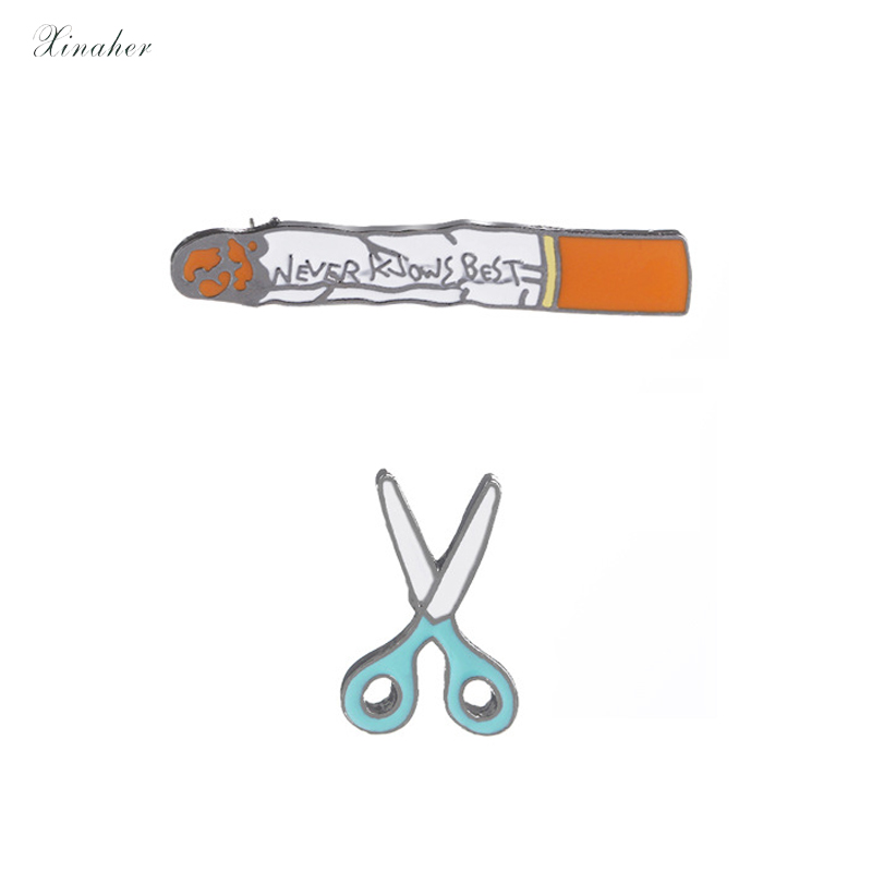 1pc Cute Cigarettes Scissors Metal Badge Brooch Button Pins Denim Jacket Pin Jewelry Decoration Badge For Clothes Lapel Pins Arts,crafts & Sewing