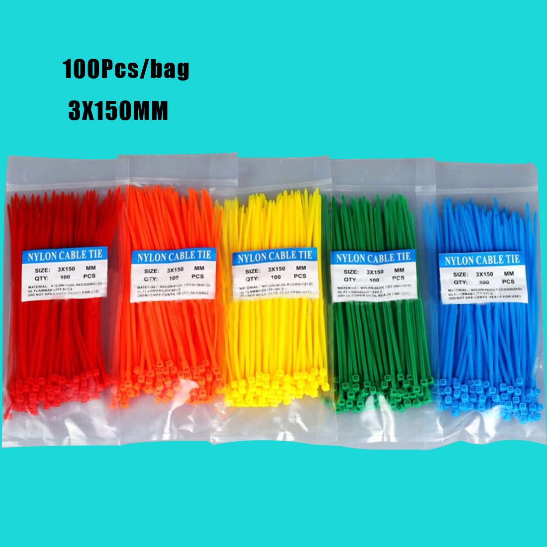 100Pcs/bag 3X150MM Self-Locking White BlACK Red Blue Yellow Nylon Wire Cable Zip Ties.cable Ties