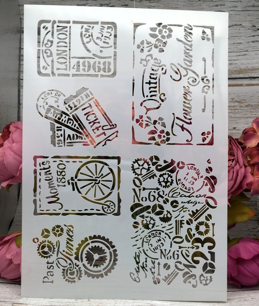 A4 Vintage Tickets DIY Layering Stencils Wall Painting Scrapbook Coloring Embossing Album Decorative Paper Card Template