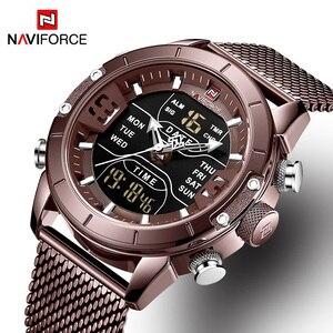 Image 5 - Naviforce relógios masculinos, relógios analógicos digitais de aço inoxidável à prova dágua para homens, relógio esportivo 2019