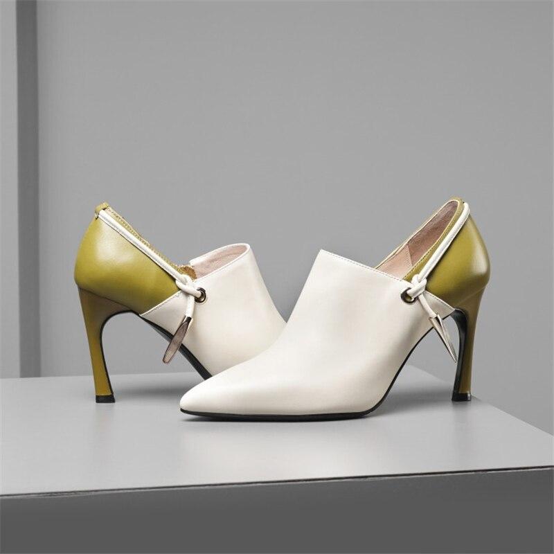 Moda Mezclados Heels Negro Decoración negro Cuero Apuntado Msstor Metal Thin Botines Zipper Beige Mujer Zapatos Toe Colores Bombas Casual HA1qZ8ZcW