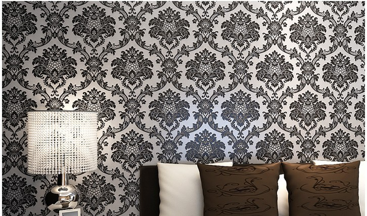 Beige White Black Pink French Pattern Damask Wallpaper Wall