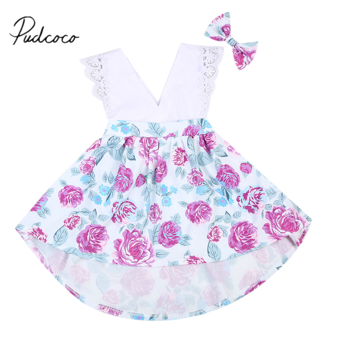 Infant Baby Kids Girl Outfits Flower Printed Romper Dress +Headband Clothes Girls Dresses cupcake birthday outfits leopard baby romper dress headband shoes infant lace tutu set roupa bebe menina winter girl clothes