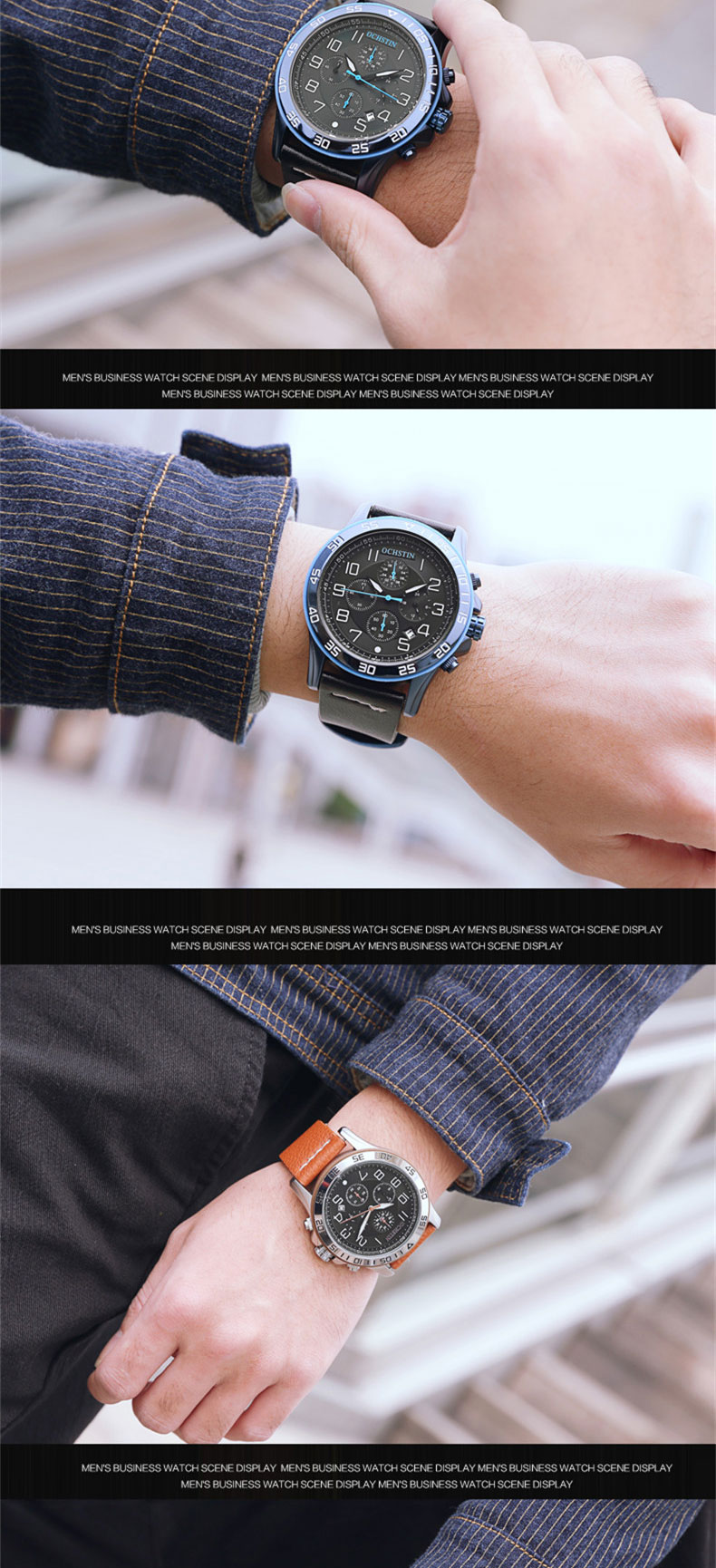 17 Men Watches Luxury Top Brand OCHSTIN Sports Chronograph Fashion Male Dress Leather Belt Clock Waterproof Quartz Wrist Watch 8