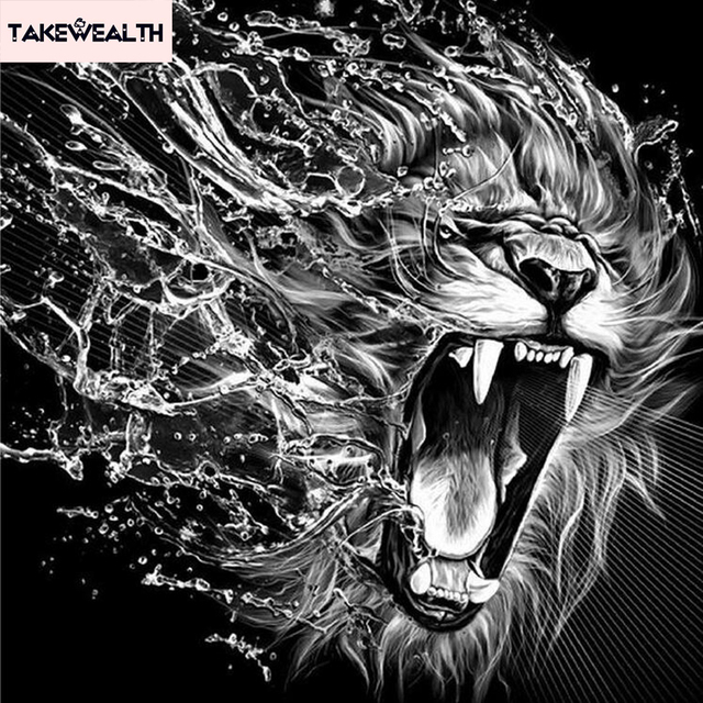 Diy 5d Diamond Painting Cross Sch Full Embroidery Tiger Cat Lion Mosaic Black White Animal Portrait S251