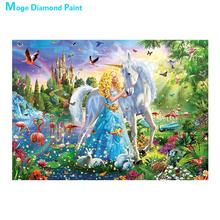 white Unicorn animal Diamond Painting Full Round cartoon portrait princess New DIY Sticking Drill Cross Embroidery 5D