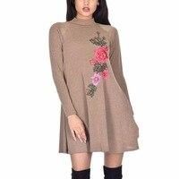 2018 с цветочной вышивкой платье с длинными рукавами Осень-зима новые женские хаки Платья для женщин размеры S M L XL