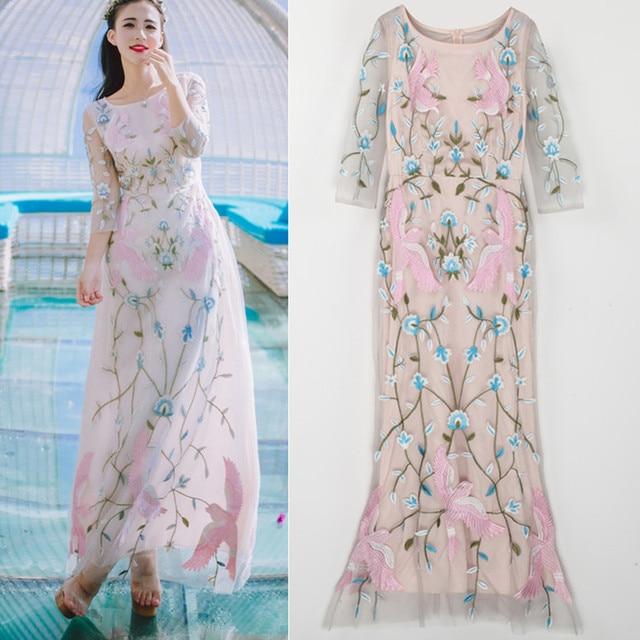 d91698b4b4d20d Luxe strand casual zware bloemen roze vogels borduren jurken vrouwen lange  dames mooie jurken zomer feestjurk