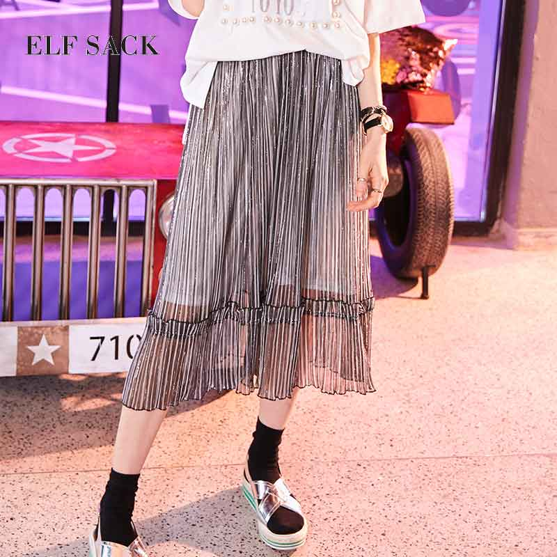 ELF SACK Women Pleated Skirt Metal Color Yarn Long Skirts Womens See Through A-Line Vintage Ruffles Pleated Skirts Brand Cloth