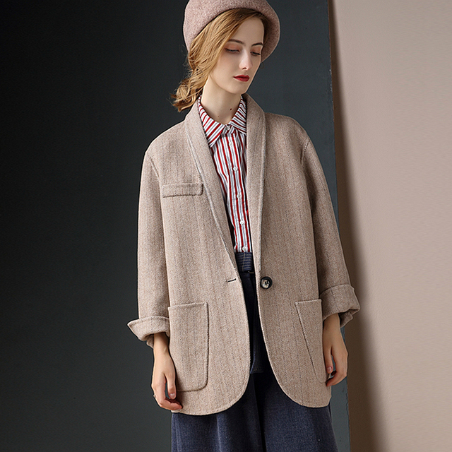 Wool Coat Women 80% Wool Classical Design Striped Drop-shoulder Single Button Pockets High Quality Loose Coat 2019 New Fashion