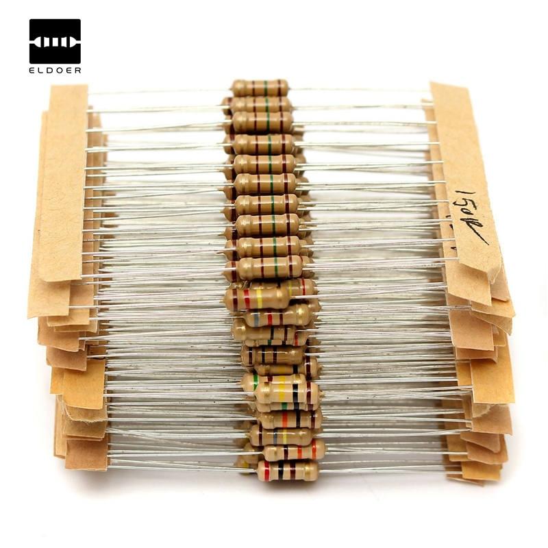 Juego de resistencias de Metal, juego de 30 resistencias de película de carbono de 1ohm-tres Mohm 1/2W, gran oferta de 300 Uds.