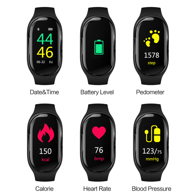Torntisc New Stereo Dual Bluetooth Earphone M1 Smart Watch Heart Rate Blood Pressure Sports Smart Bracelet For IOS Android Phone